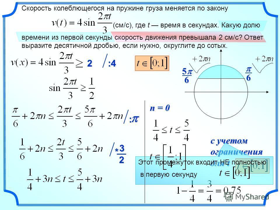 с учетом ограничения для t 2 :4:4:4:4 : Этот промежуток входит НЕ полностью в первую секунду n = 0 Скорость колеблющегося на пружине груза меняется по закону (см/с), где t время в секундах. Какую долю времени из первой секунды скорость движения превы