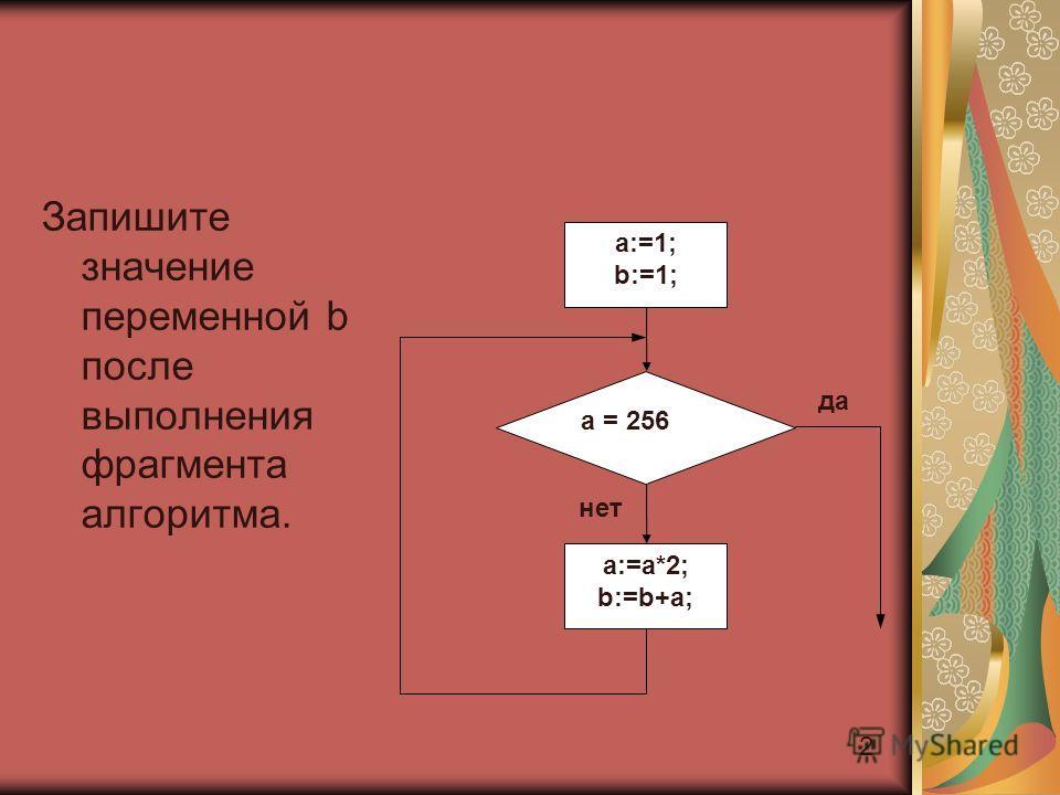 2 Запишите значение переменной b после выполнения фрагмента алгоритма. a:=a*2; b:=b+a; a:=1; b:=1; a = 256 да нет
