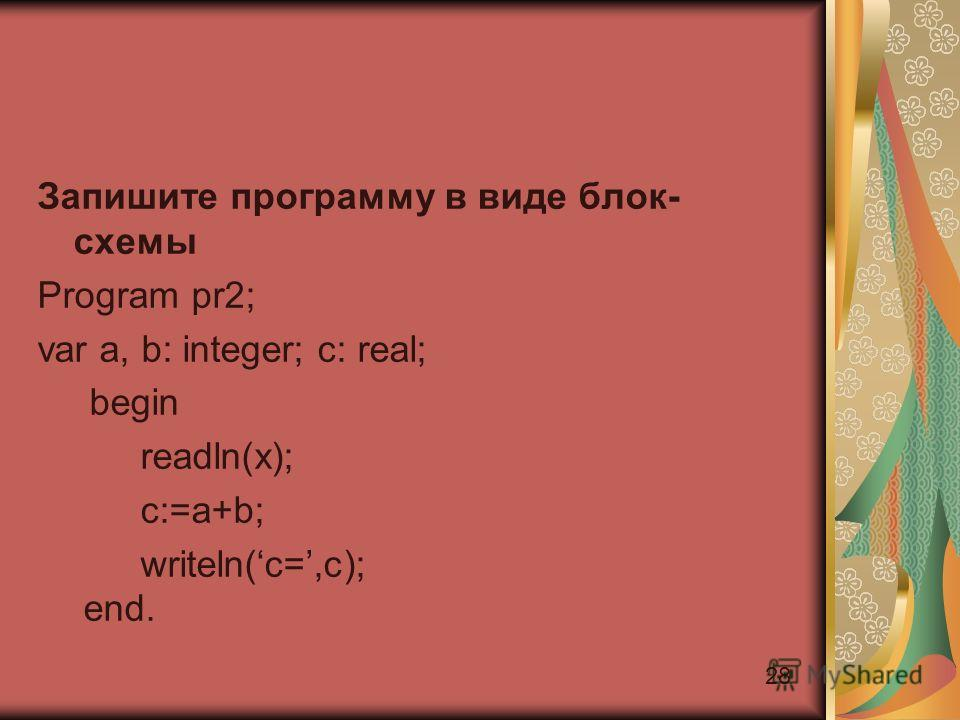 28 Запишите программу в виде блок- схемы Program pr2; var a, b: integer; c: real; begin reаdln(x); c:=a+b; writeln(c=,c); end.