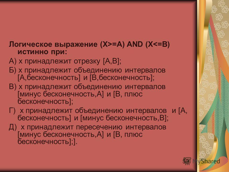 30 Логическое выражение (X>=A) AND (X