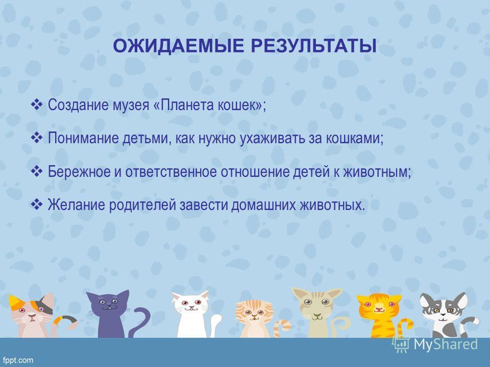 ОЖИДАЕМЫЕ РЕЗУЛЬТАТЫ Создание музея «Планета кошек»; Понимание детьми, как нужно ухаживать за кошками; Бережное и ответственное отношение детей к животным; Желание родителей завести домашних животных.
