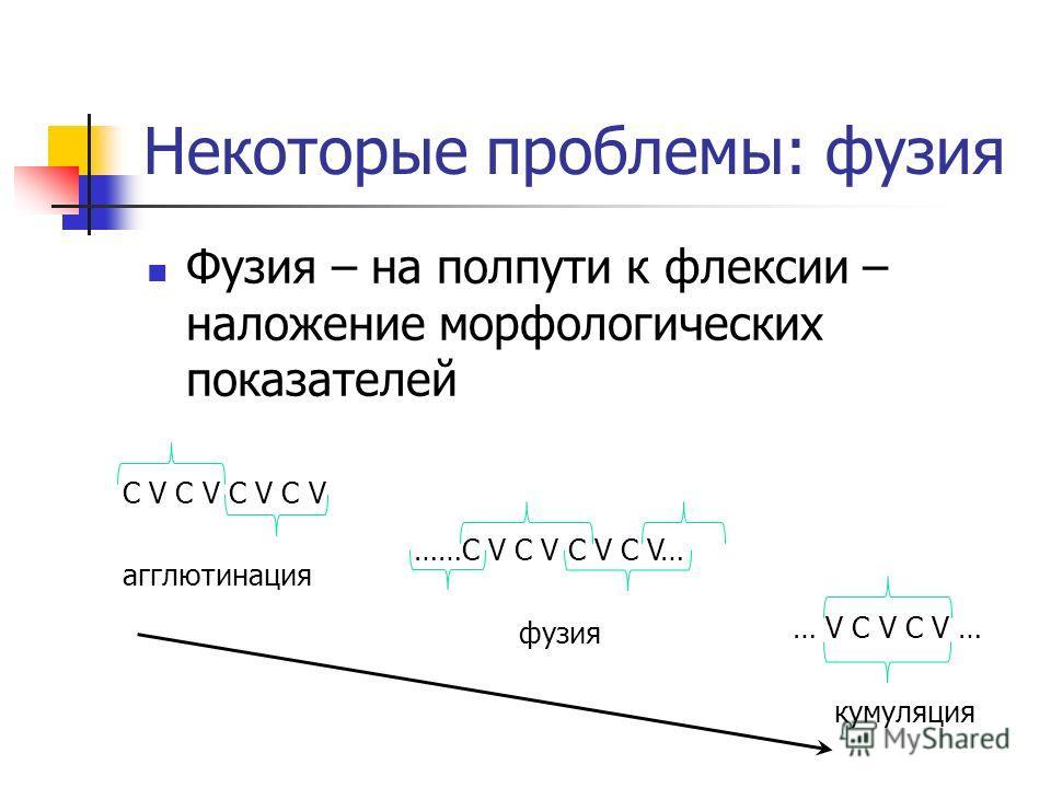 Некоторые проблемы: фузия Фузия – на полпути к флексии – наложение морфологических показателей С V C V C V C V агглютинация ……С V C V C V C V… фузия … V C V C V … кумуляция