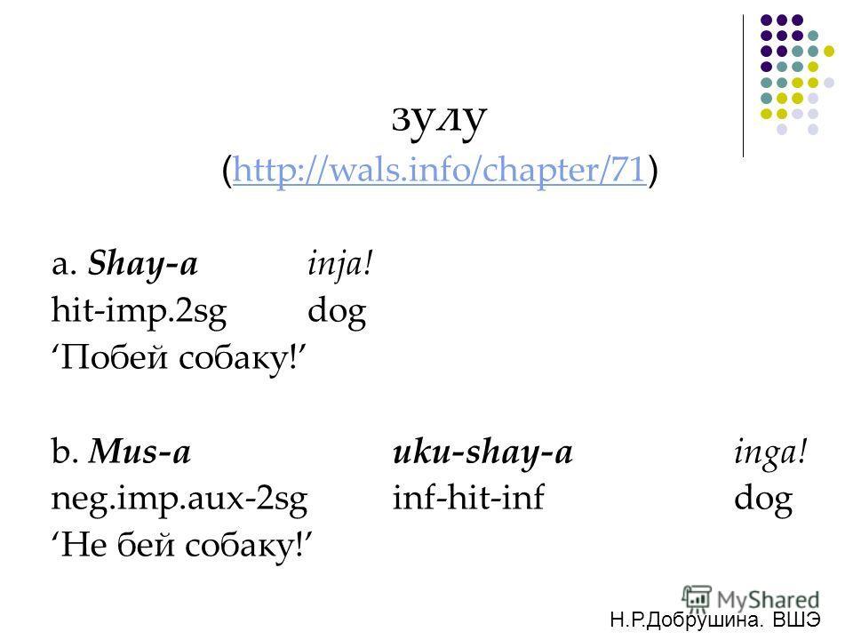 зулу ( http://wals.info/chapter/71 ) http://wals.info/chapter/71 a. Shay-ainja! hit-imp.2sgdog Побей собаку! b. Mus-auku-shay-ainga! neg.imp.aux-2sginf-hit-infdog Не бей собаку! Н.Р.Добрушина. ВШЭ