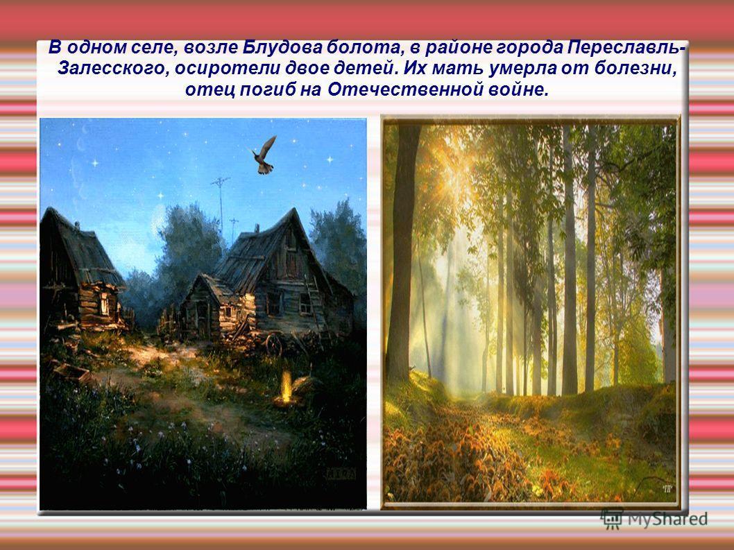 В одном селе, возле Блудова болота, в районе города Переславль- Залесского, осиротели двое детей. Их мать умерла от болезни, отец погиб на Отечественной войне.