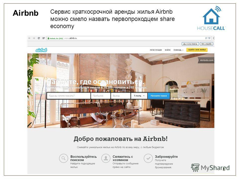 4 Airbnb Сервис краткосрочной аренды жилья Airbnb можно смело назвать первопроходцем share economy