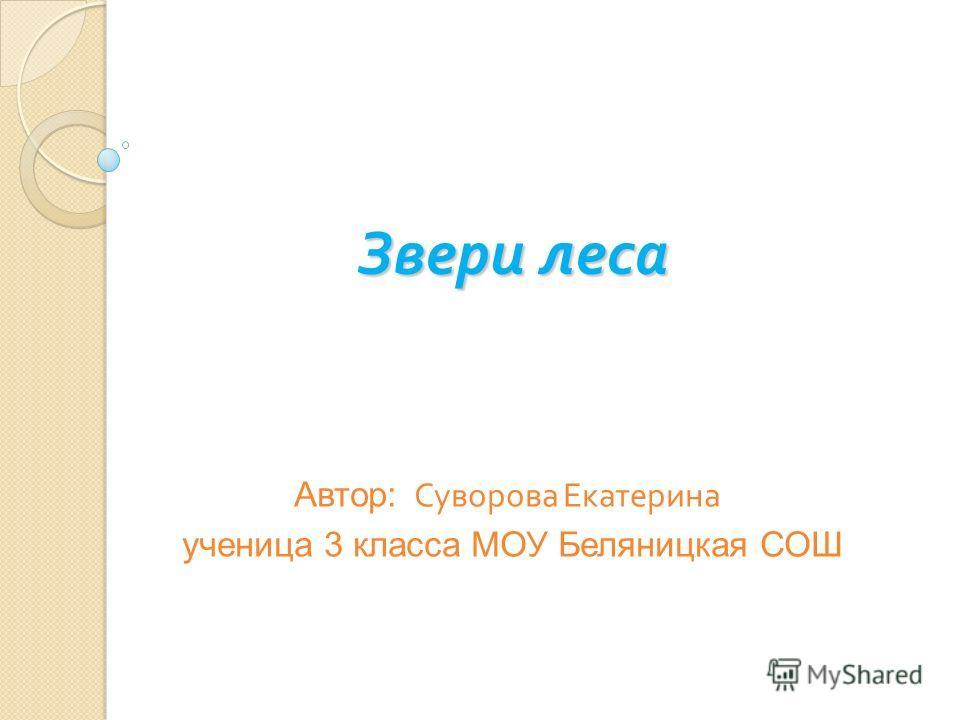 Звери леса Автор: Суворова Екатерина ученица 3 класса МОУ Беляницкая СОШ