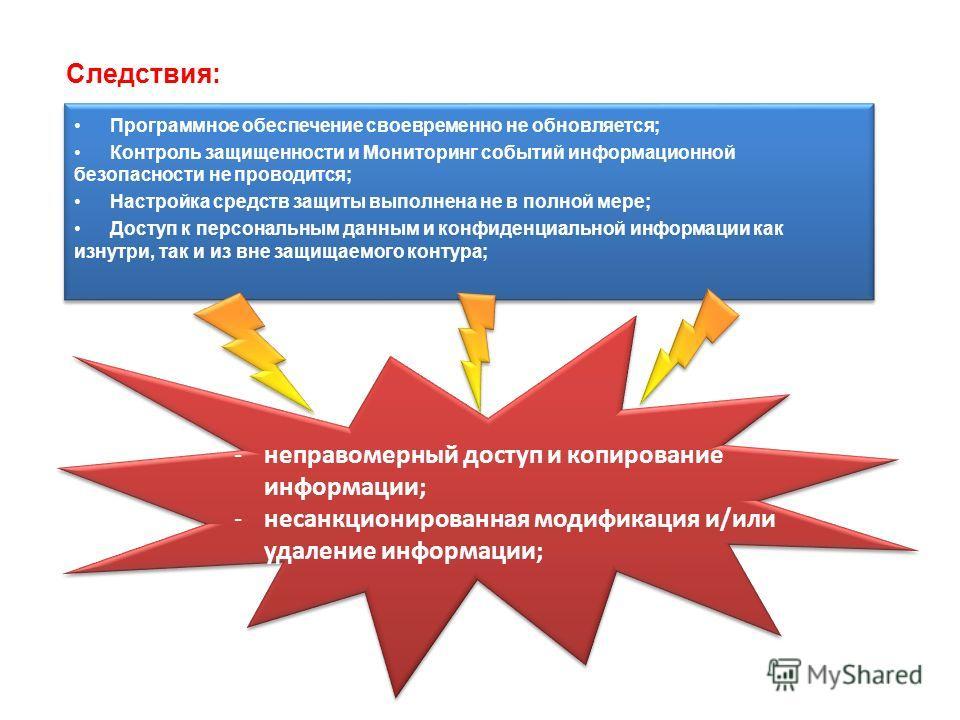 Следствия: Программное обеспечение своевременно не обновляется; Контроль защищенности и Мониторинг событий информационной безопасности не проводится; Настройка средств защиты выполнена не в полной мере; Доступ к персональным данным и конфиденциальной