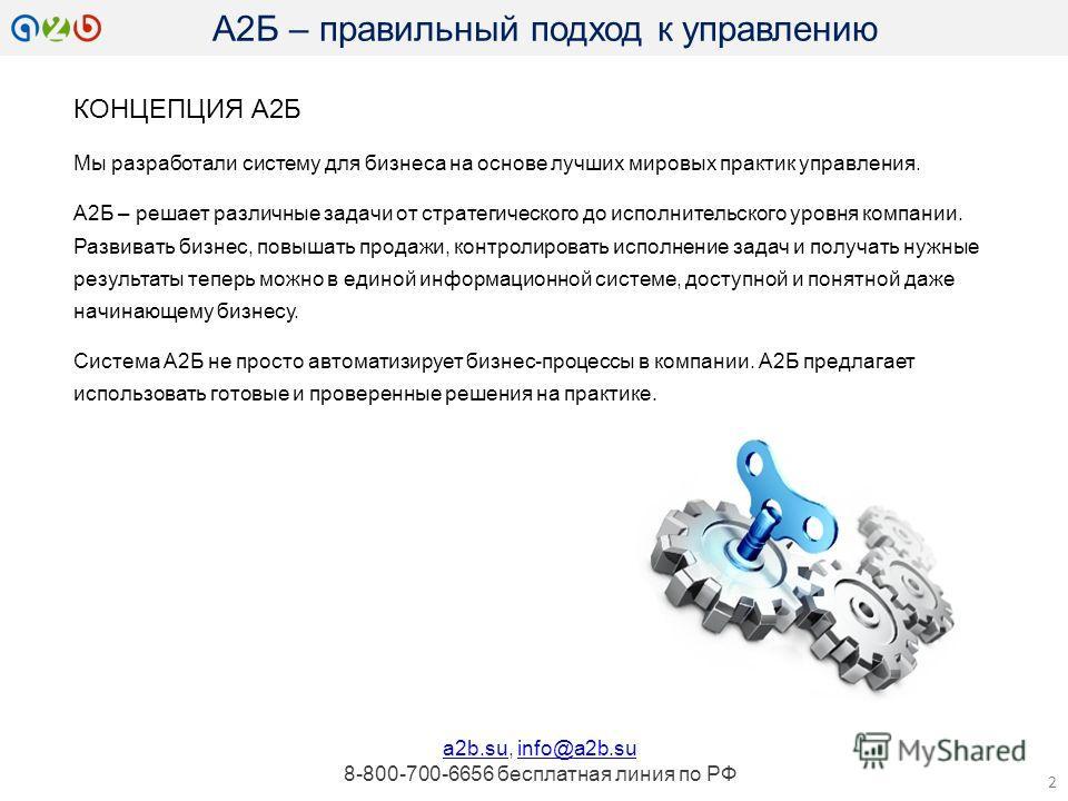 КОНЦЕПЦИЯ А2Б Мы разработали систему для бизнеса на основе лучших мировых практик управления. А2Б – решает различные задачи от стратегического до исполнительского уровня компании. Развивать бизнес, повышать продажи, контролировать исполнение задач и