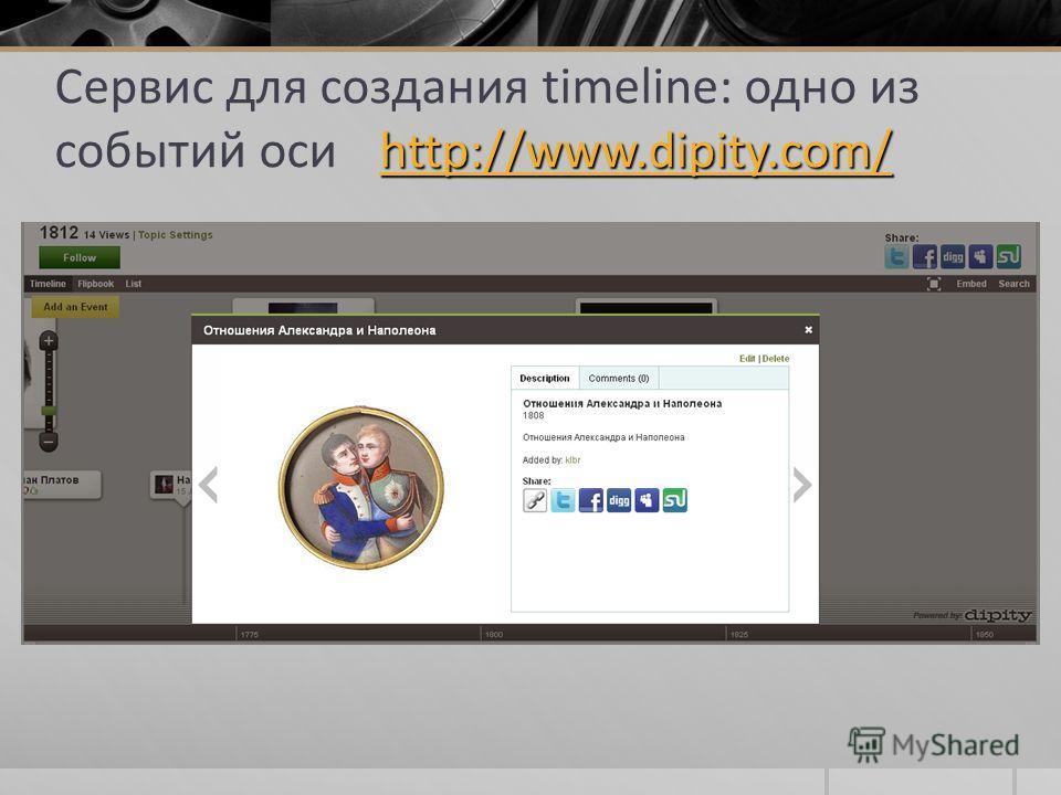http://www.dipity.com/ Сервис для создания timeline: одно из событий оси http://www.dipity.com/ http://www.dipity.com/