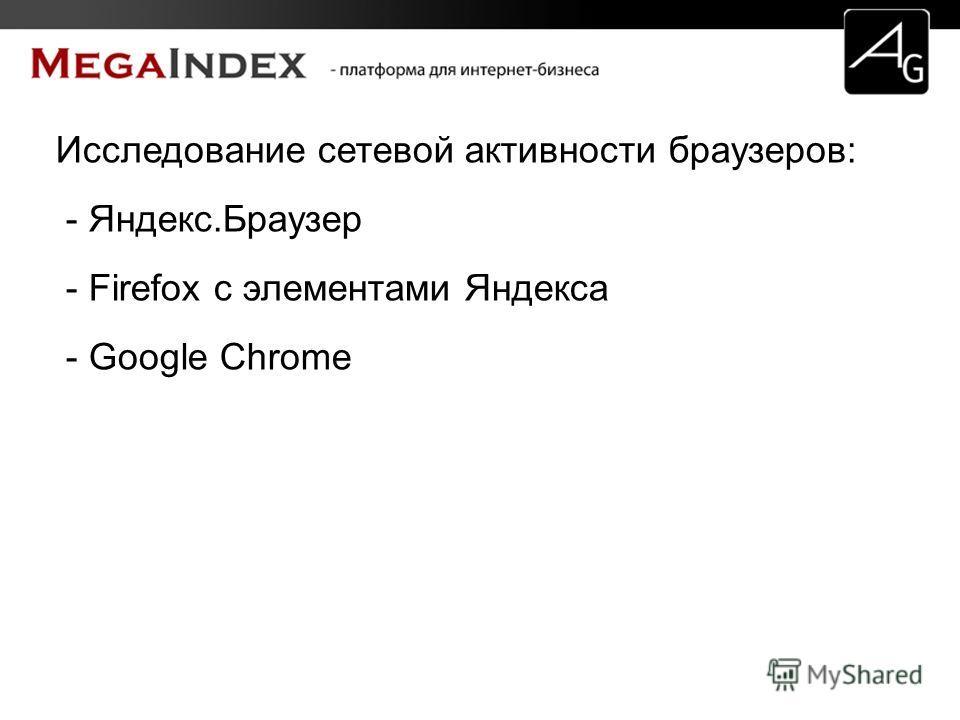 Исследование сетевой активности браузеров: - Яндекс.Браузер - Firefox с элементами Яндекса - Google Chrome