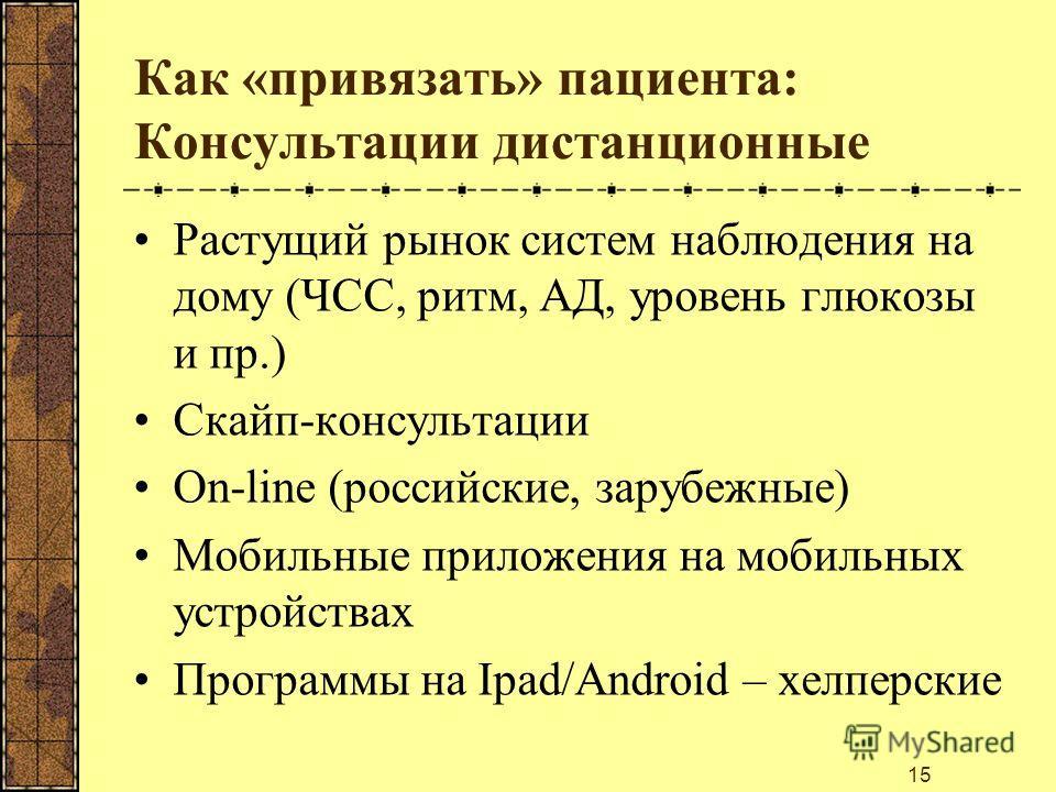 Как «привязать» пациента: Консультации дистанционные Растущий рынок систем наблюдения на дому (ЧСС, ритм, АД, уровень глюкозы и пр.) Скайп-консультации On-line (российские, зарубежные) Мобильные приложения на мобильных устройствах Программы на Ipad/A