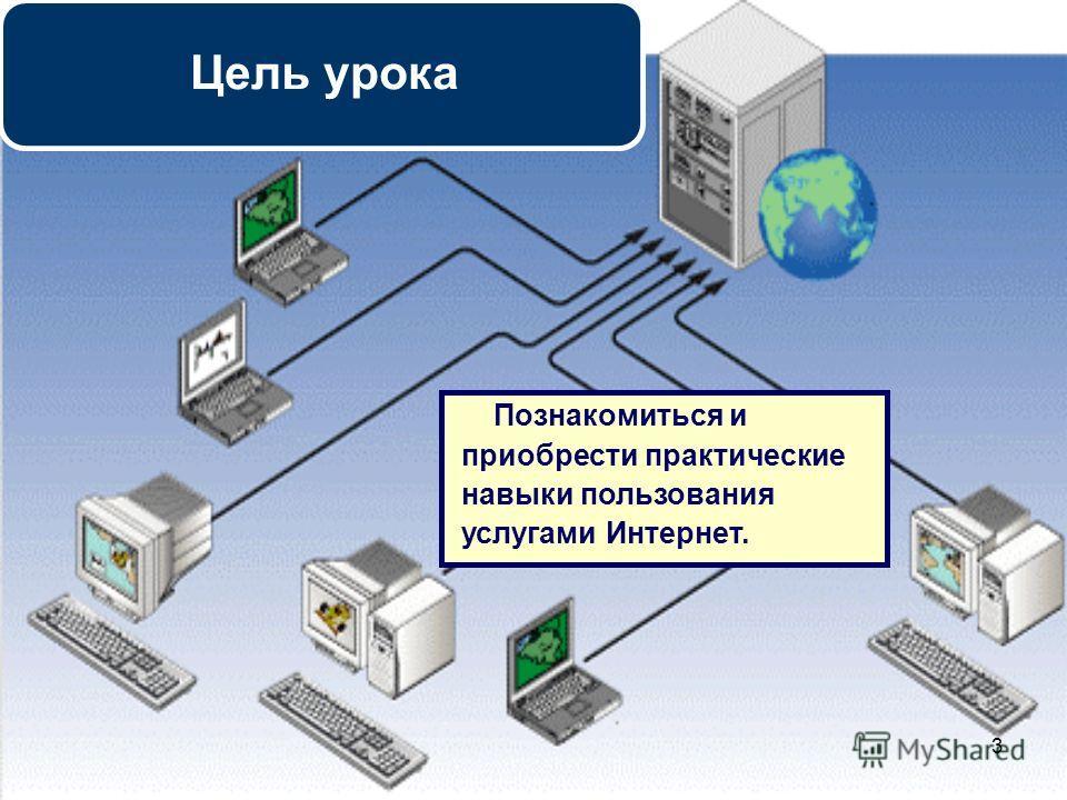 3 Познакомиться и приобрести практические навыки пользования услугами Интернет. Цель урока