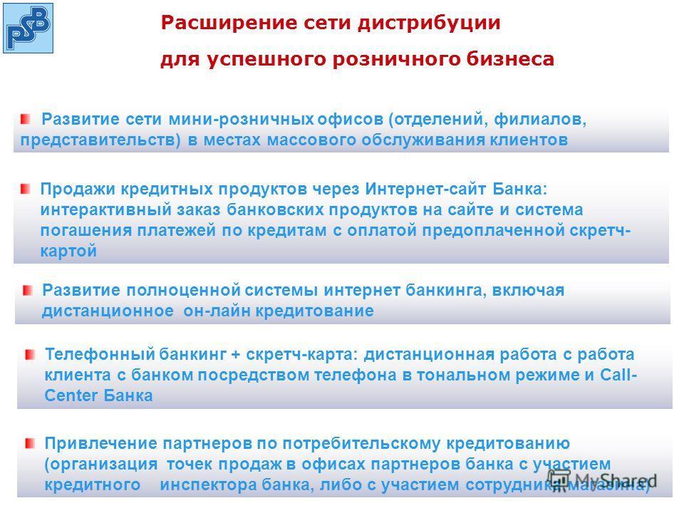 Расширение сети дистрибуции для успешного розничного бизнеса Привлечение партнеров по потребительскому кредитованию (организация точек продаж в офисах партнеров банка с участием кредитного инспектора банка, либо с участием сотрудника магазина) Развит