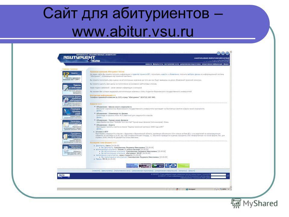 Сайт для абитуриентов – www.abitur.vsu.ru
