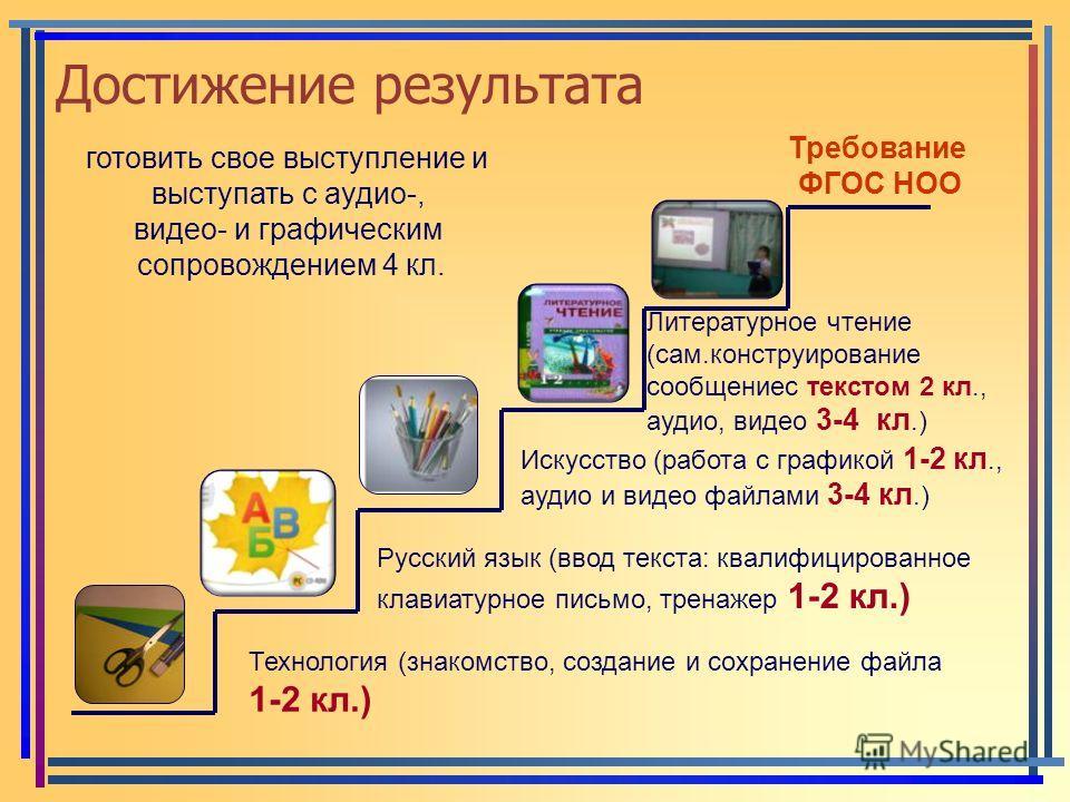 Достижение результата Технология (знакомство, создание и сохранение файла 1-2 кл.) Русский язык (ввод текста: квалифицированное клавиатурное письмо, тренажер 1-2 кл.) Искусство (работа с графикой 1-2 кл., аудио и видео файлами 3-4 кл.) Литературное ч