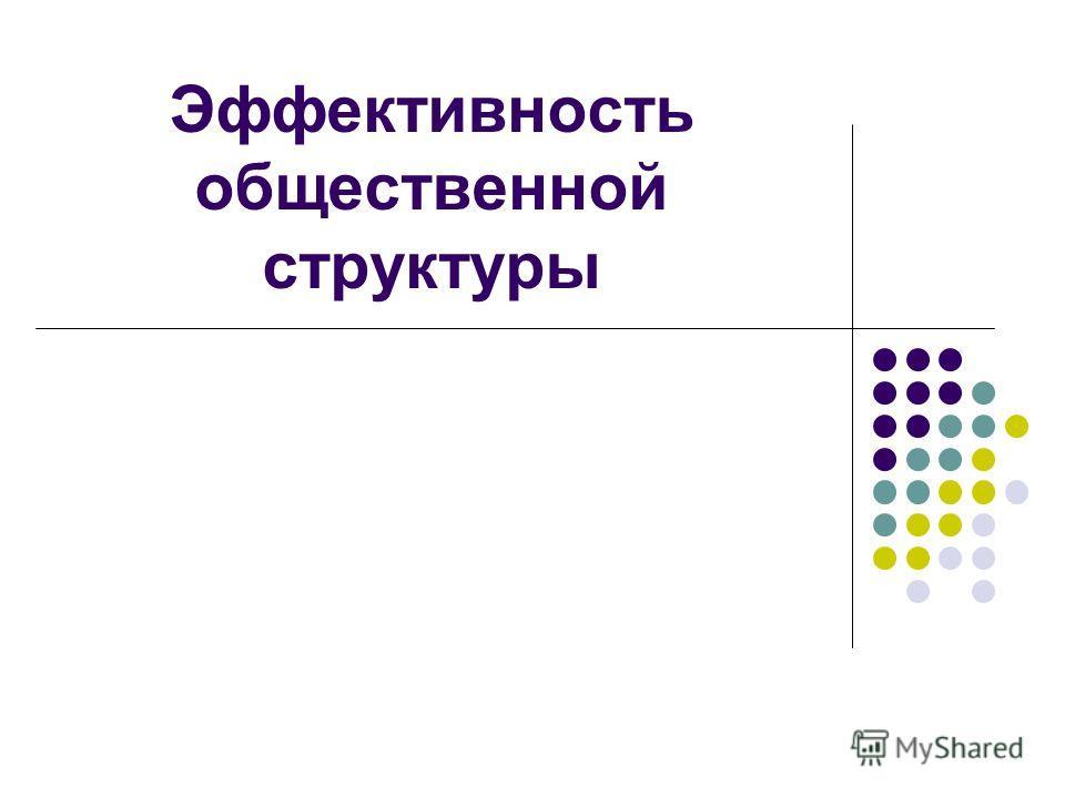 Эффективность общественной структуры
