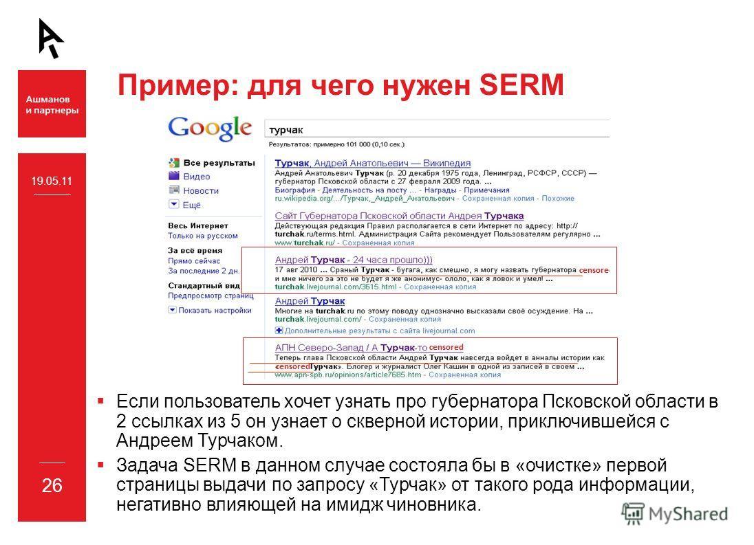 Пример: для чего нужен SERM Если пользователь хочет узнать про губернатора Псковской области в 2 ссылках из 5 он узнает о скверной истории, приключившейся с Андреем Турчаком. Задача SERM в данном случае состояла бы в «очистке» первой страницы выдачи