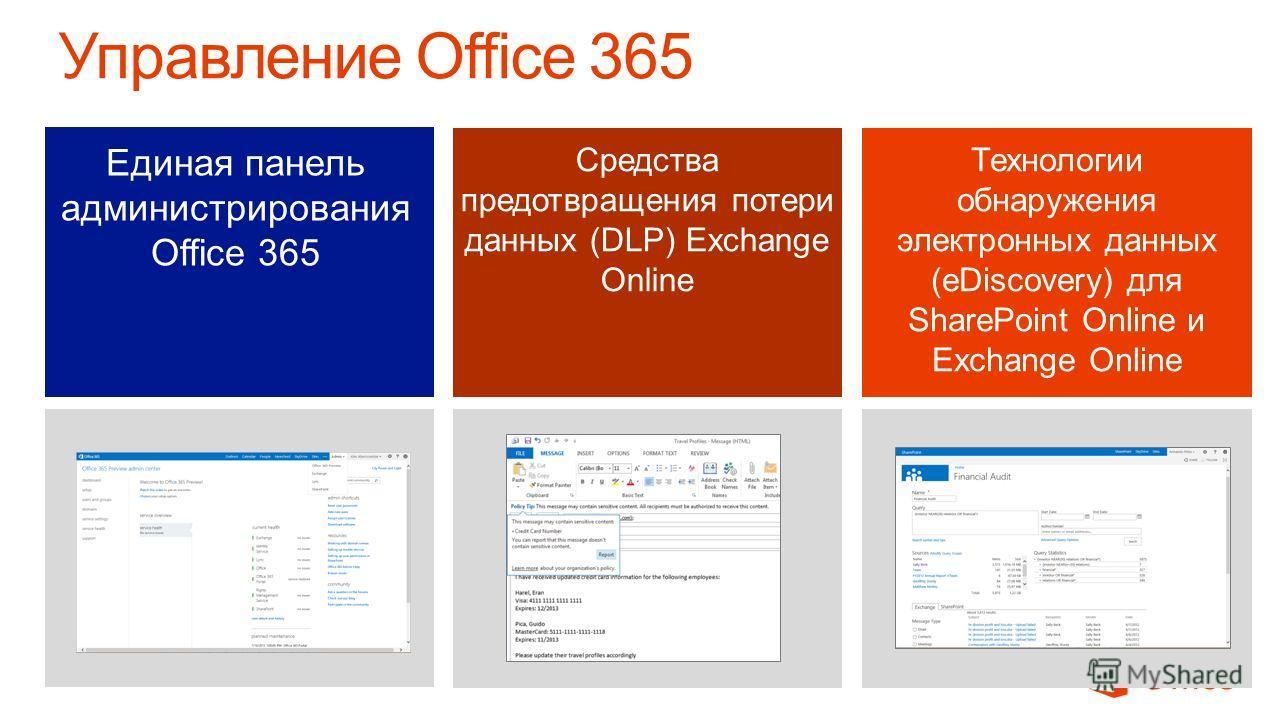 Единая панель администрирования Office 365 Средства предотвращения потери данных (DLP) Exchange Online Технологии обнаружения электронных данных (eDiscovery) для SharePoint Online и Exchange Online