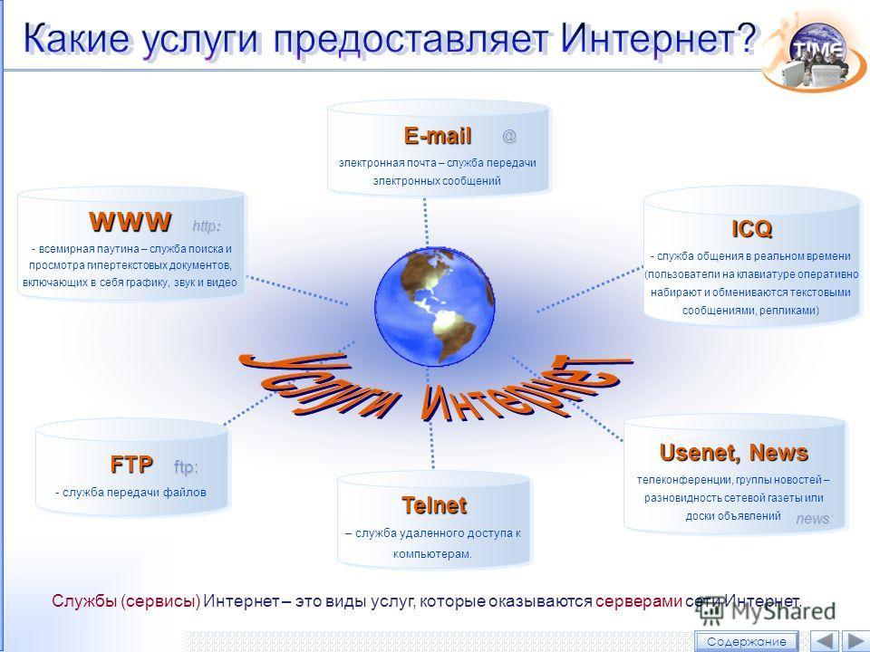 ICQ ICQ - служба общения в реальном времени (пользователи на клавиатуре оперативно набирают и обмениваются текстовыми сообщениями, репликами) Usenet, News Usenet, News телеконференции, группы новостей – разновидность сетевой газеты или доски объявлен