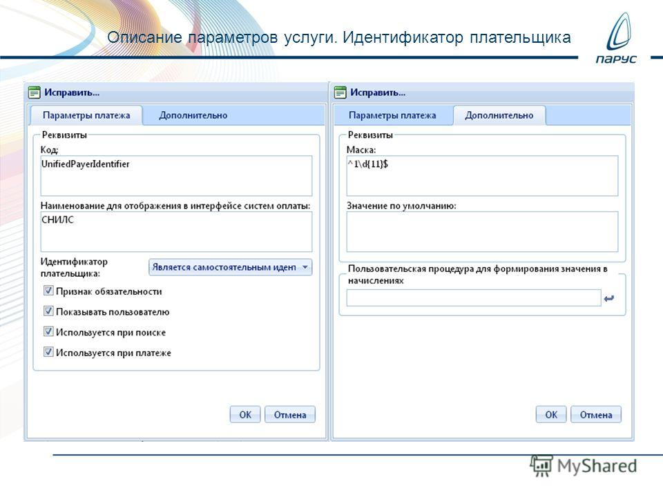 Описание параметров услуги. Идентификатор плательщика