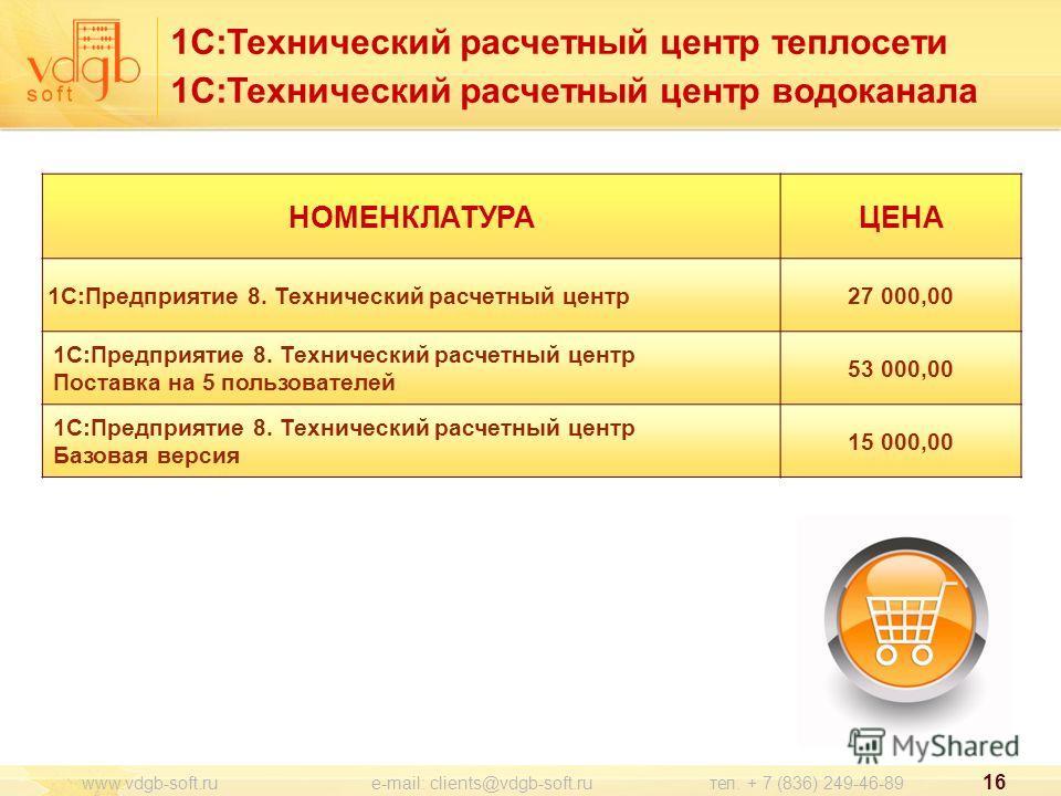 1С:Технический расчетный центр теплосети 1С:Технический расчетный центр водоканала 16 www.vdgb-soft.ru e-mail: clients@vdgb-soft.ru тел. + 7 (836) 249-46-89 НОМЕНКЛАТУРАЦЕНА 1С:Предприятие 8. Технический расчетный центр27 000,00 1С:Предприятие 8. Тех