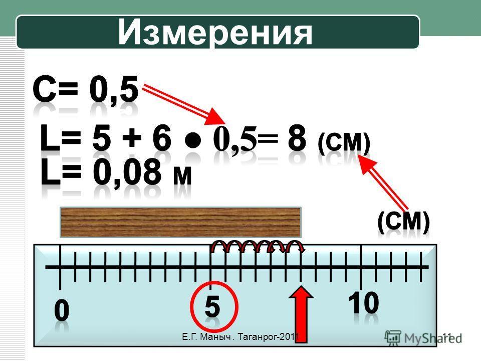 Измерения 11Е.Г. Маныч. Таганрог-2011