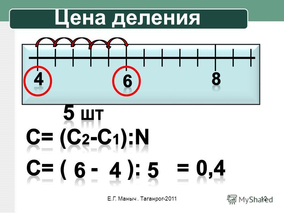 Цена деления 12Е.Г. Маныч. Таганрог-2011