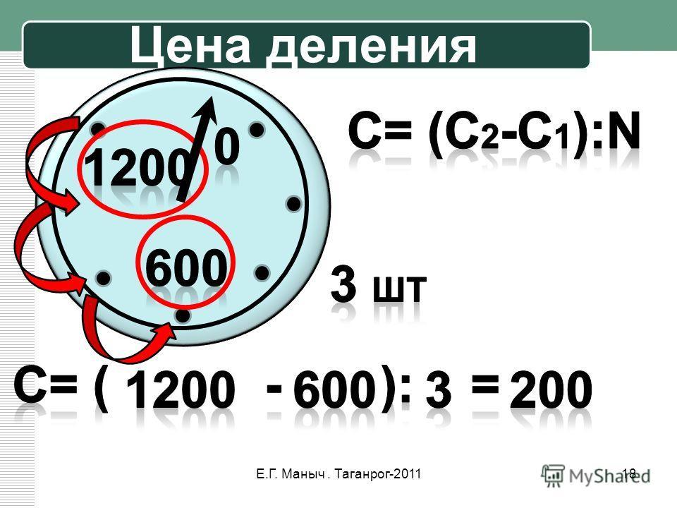 Цена деления 18Е.Г. Маныч. Таганрог-2011