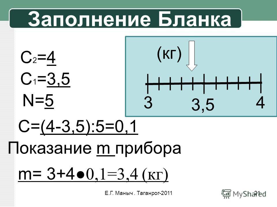 Заполнение Бланка 3 3,5 4 C2=4C2=4 C 1 =3,5 N=5 C=(4-3,5):5=0,1 Показание m прибора m= 3+40,1=3,4 (кг) (кг) 21Е.Г. Маныч. Таганрог-2011
