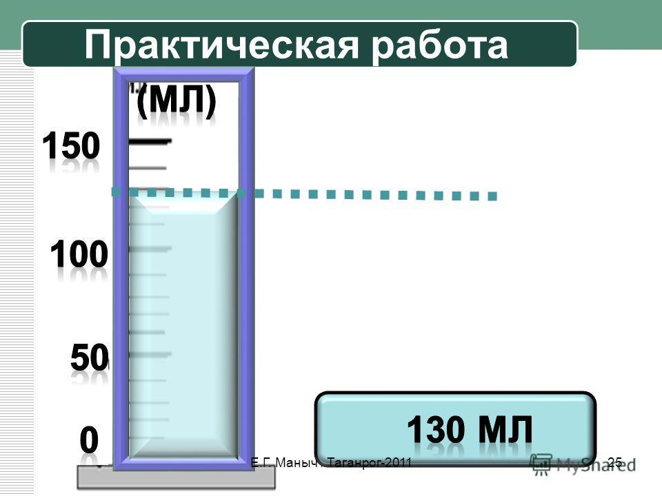 Практическая работа 25Е.Г. Маныч. Таганрог-2011