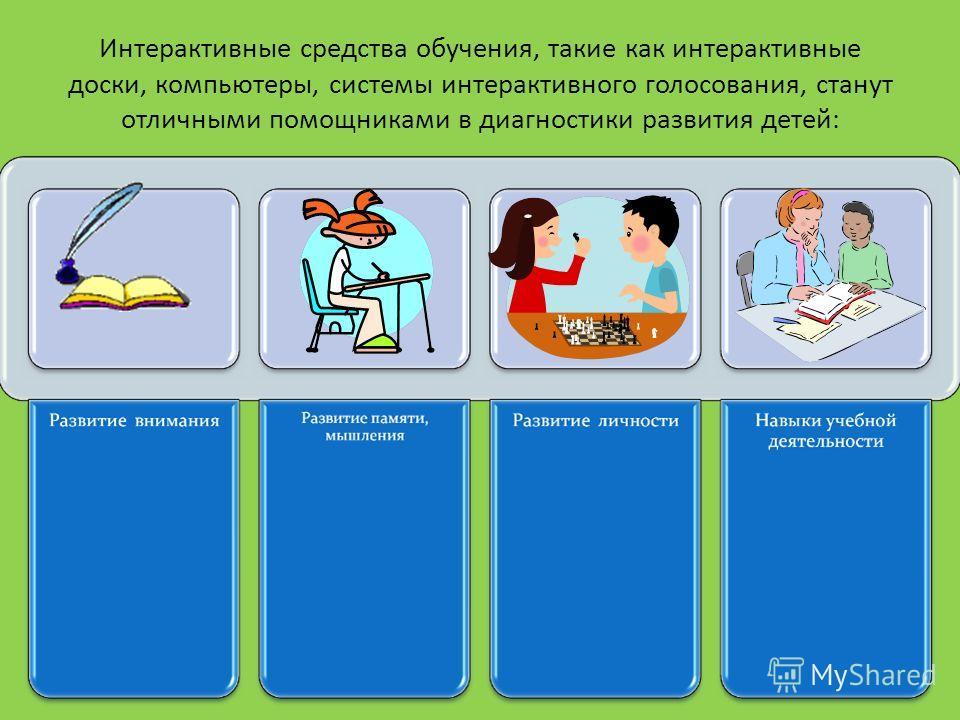 Интерактивные средства обучения, такие как интерактивные доски, компьютеры, системы интерактивного голосования, станут отличными помощниками в диагностики развития детей: