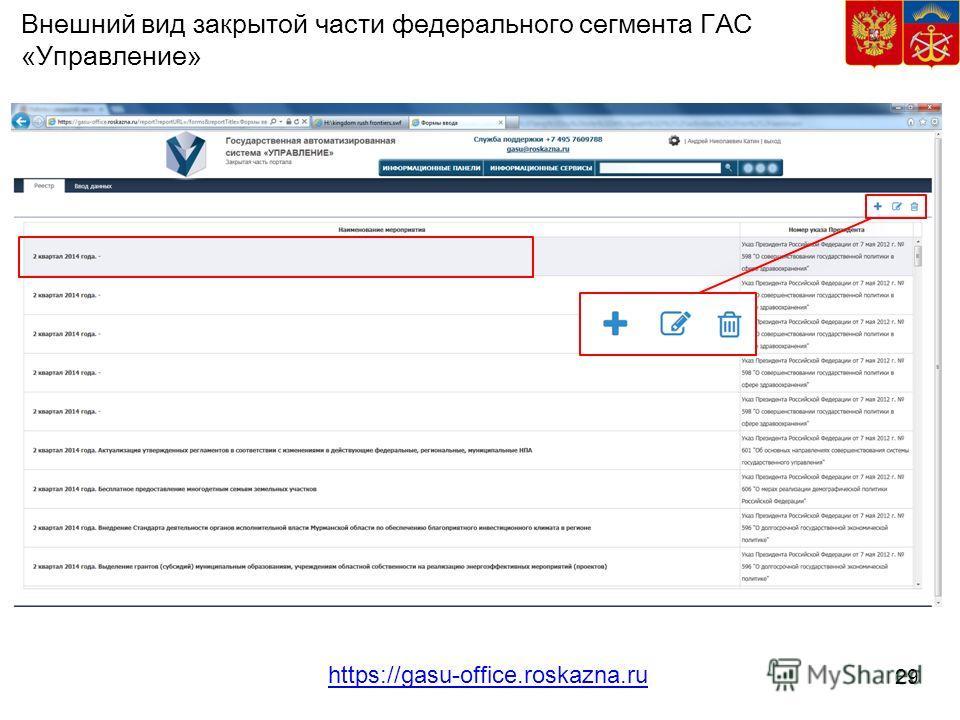 29 Внешний вид закрытой части федерального сегмента ГАС «Управление» https://gasu-office.roskazna.ru