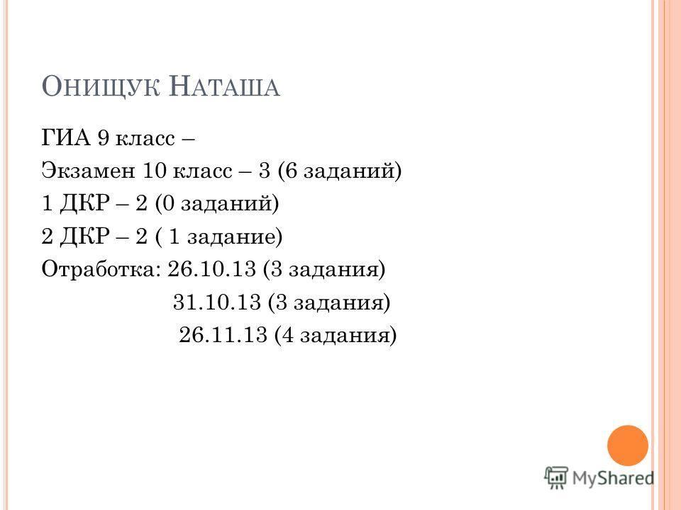 О НИЩУК Н АТАША ГИА 9 класс – Экзамен 10 класс – 3 (6 заданий) 1 ДКР – 2 (0 заданий) 2 ДКР – 2 ( 1 задание) Отработка: 26.10.13 (3 задания) 31.10.13 (3 задания) 26.11.13 (4 задания)