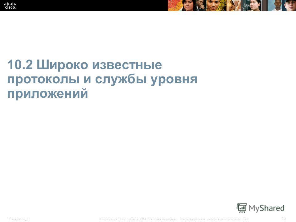 Presentation_ID 16 © Корпорация Cisco Systems, 2014. Все права защищены.Конфиденциальная информация корпорации Cisco 10.2 Широко известные протоколы и службы уровня приложений