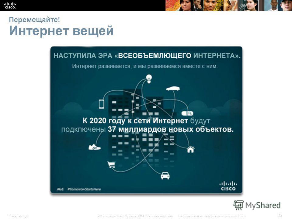 Presentation_ID 35 © Корпорация Cisco Systems, 2014. Все права защищены.Конфиденциальная информация корпорации Cisco Перемещайте! Интернет вещей