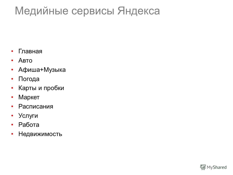 Медийные сервисы Яндекса Главная Авто Афиша+Музыка Погода Карты и пробки Маркет Расписания Услуги Работа Недвижимость