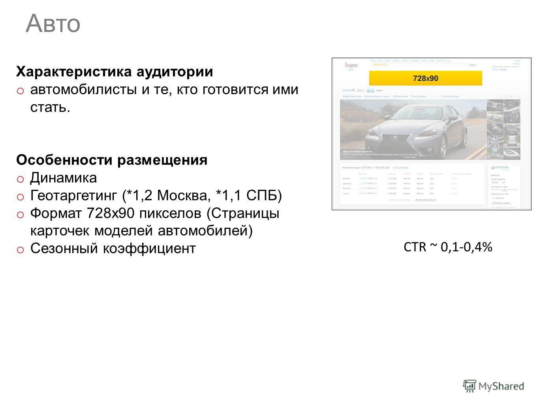 Характеристика аудитории o автомобилисты и те, кто готовится ими стать. Особенности размещения o Динамика o Геотаргетинг (*1,2 Москва, *1,1 СПБ) o Формат 728х90 пикселов (Страницы карточек моделей автомобилей) o Cезонный коэффициент Авто CTR ~ 0,1-0,