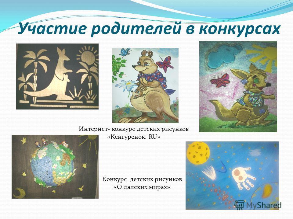 Участие родителей в конкурсах Интернет- конкурс детских рисунков «Кенгуренок. RU» Конкурс детских рисунков «О далеких мирах»