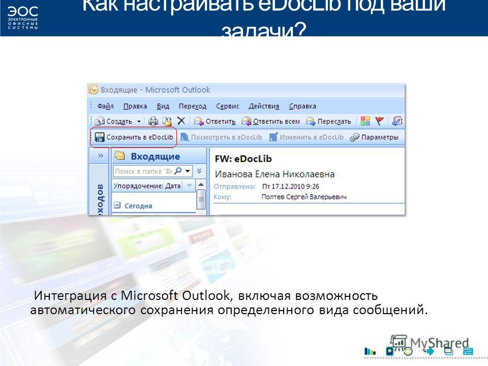 Как настраивать eDocLib под ваши задачи? Интеграция с Microsoft Outlook, включая возможность автоматического сохранения определенного вида сообщений.