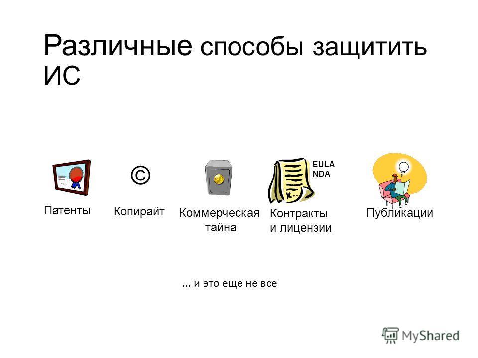 Различные способы защитить ИС Патенты Копирайт Коммерческая тайна Контракты и лицензии © EULA NDA Публикации... и это еще не все