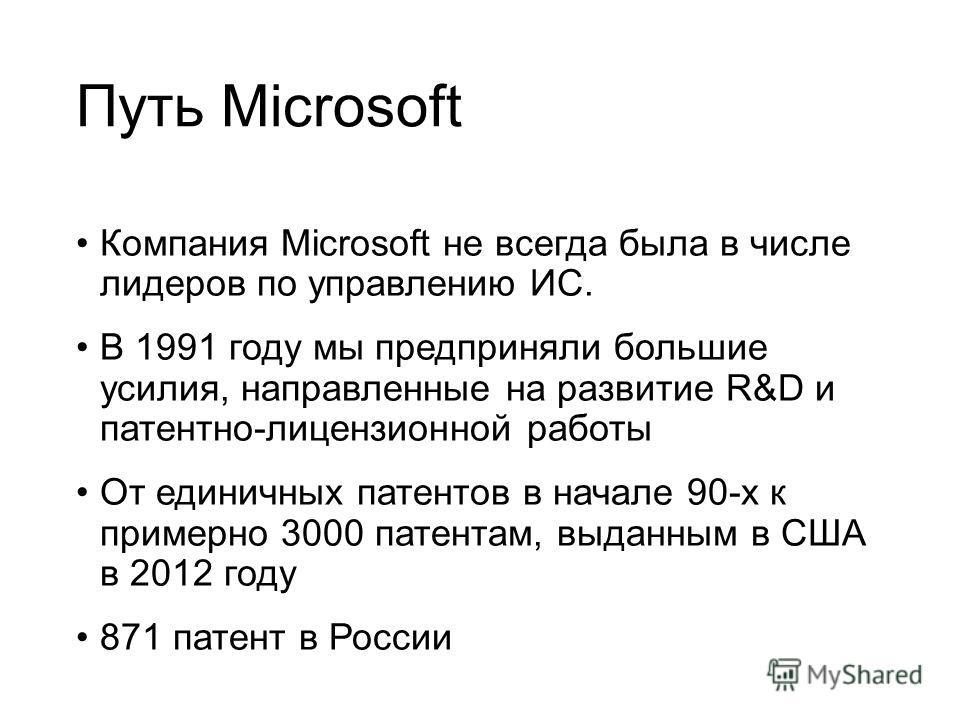 Путь Microsoft Компания Microsoft не всегда была в числе лидеров по управлению ИС. В 1991 году мы предприняли большие усилия, направленные на развитие R&D и патентно-лицензионной работы От единичных патентов в начале 90-х к примерно 3000 патентам, вы