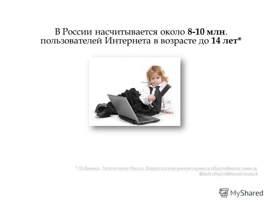 В России насчитывается около 8-10 млн. пользователей Интернета в возрасте до 14 лет* * По данным Госкомстата России, Всероссийского центра изучения общественного мнения, Фонда общественного мнения