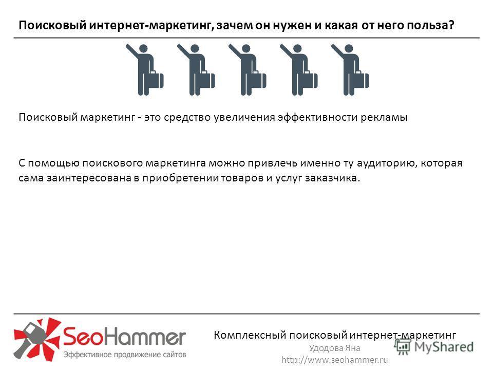 Комплексный поисковый интернет-маркетинг Удодова Яна http://www.seohammer.ru С помощью поискового маркетинга можно привлечь именно ту аудиторию, которая сама заинтересована в приобретении товаров и услуг заказчика. Поисковый маркетинг - это средство