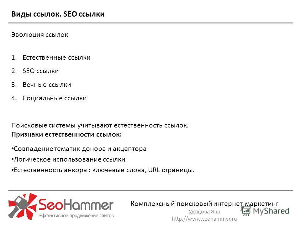 Комплексный поисковый интернет-маркетинг Удодова Яна http://www.seohammer.ru Виды ссылок. SEO ссылки Эволюция ссылок 1. Естественные ссылки 2. SEO ссылки 3. Вечные ссылки 4. Социальные ссылки Поисковые системы учитывают естественность ссылок. Признак