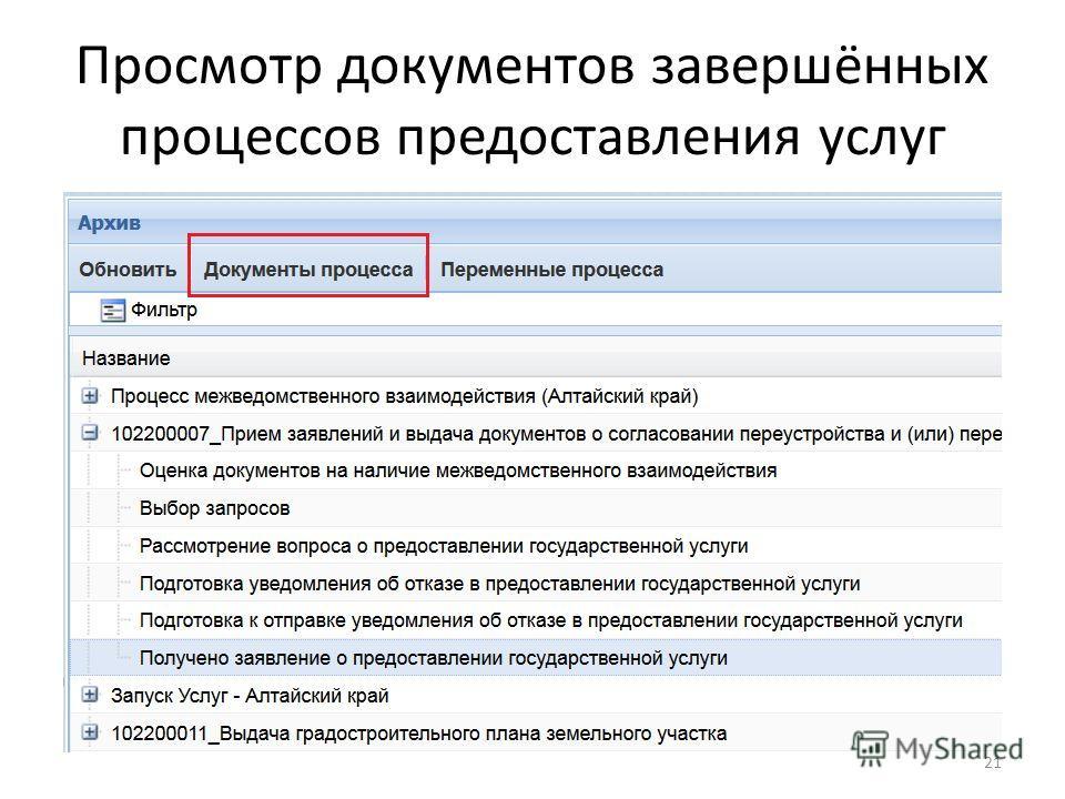 Просмотр документов завершённых процессов предоставления услуг 21