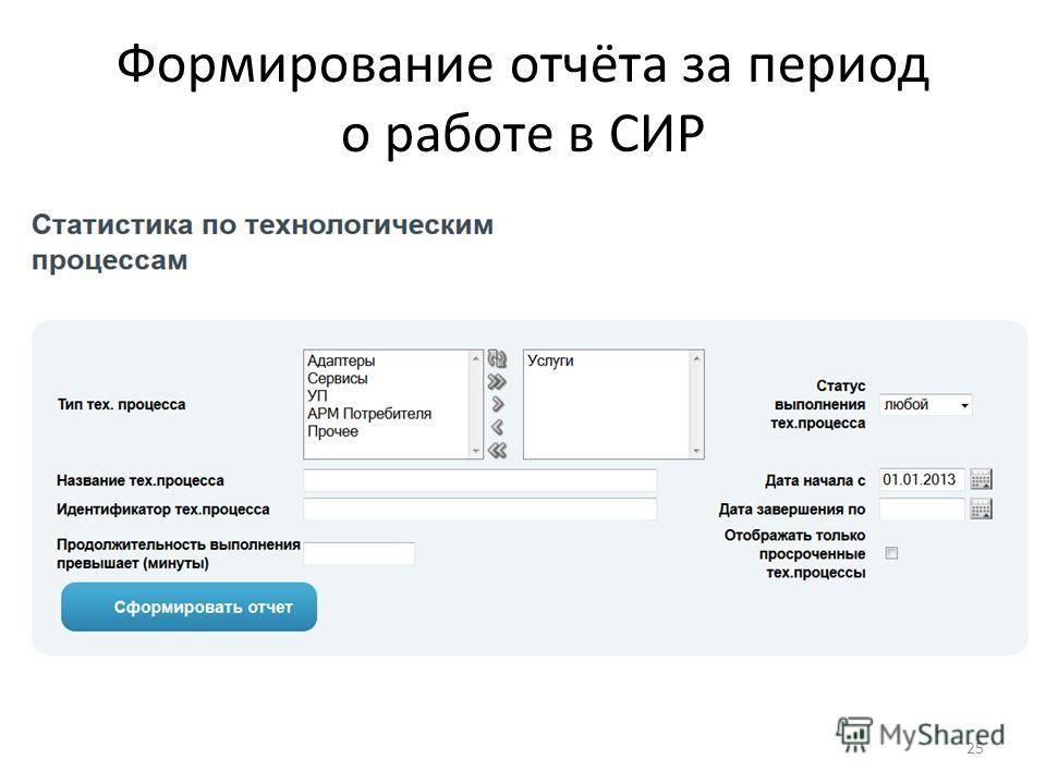 Формирование отчёта за период о работе в СИР 25