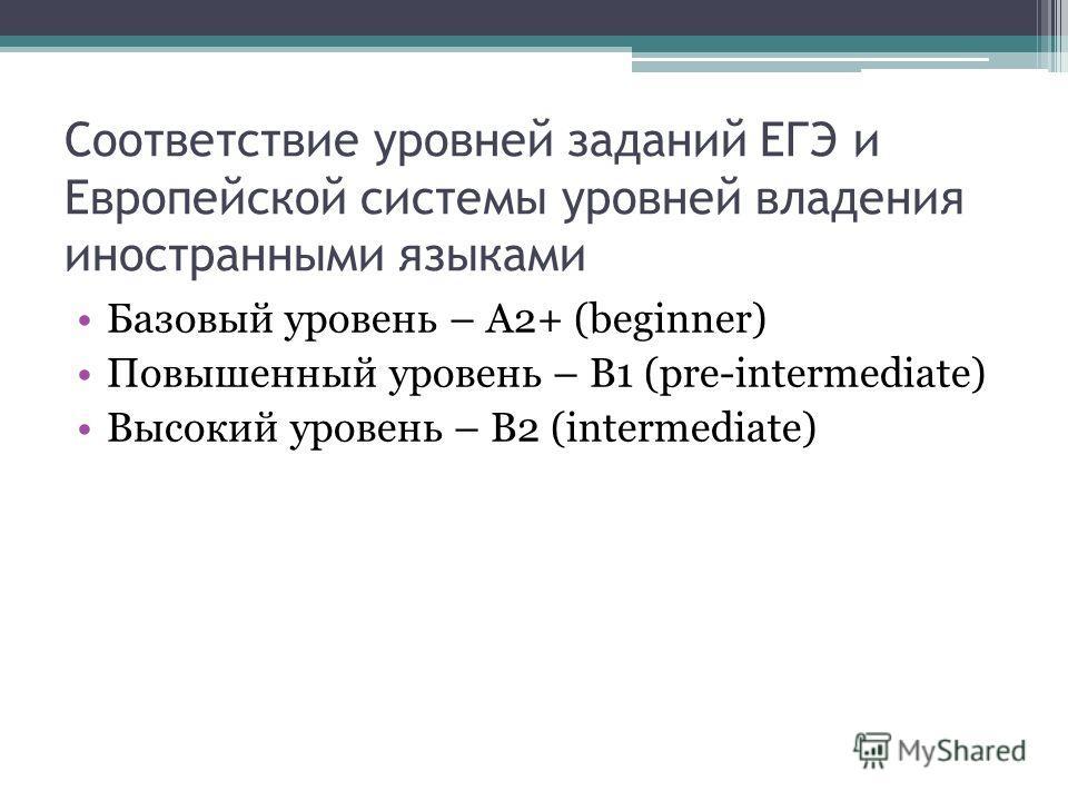 Соответствие уровней заданий ЕГЭ и Европейской системы уровней владения иностранными языками Базовый уровень – A2+ (beginner) Повышенный уровень – В1 (pre-intermediate) Высокий уровень – В2 (intermediate)