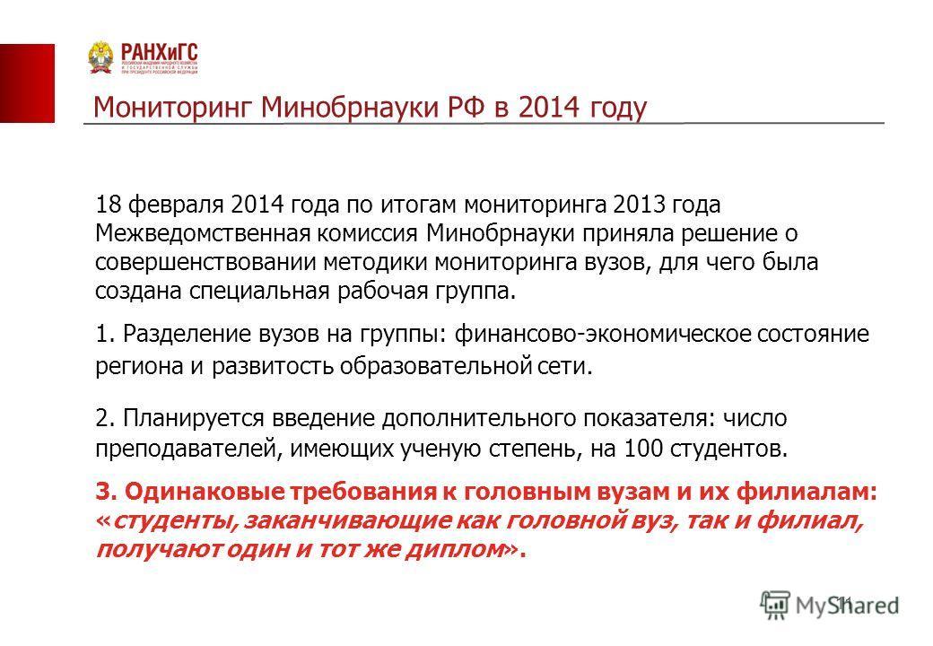 Мониторинг Минобрнауки РФ в 2014 году 11 18 февраля 2014 года по итогам мониторинга 2013 года Межведомственная комиссия Минобрнауки приняла решение о совершенствовании методики мониторинга вузов, для чего была создана специальная рабочая группа. 1. Р