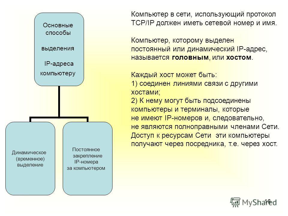 16 Компьютер в сети, использующий протокол TCP/IP должен иметь сетевой номер и имя. Компьютер, которому выделен постоянный или динамический IP-адрес, называется головным, или хостом. Каждый хост может быть: 1) соединен линиями связи с другими хостами