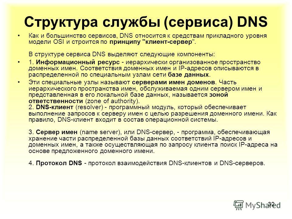 32 Структура службы (сервиса) DNS Как и большинство сервисов, DNS относится к средствам прикладного уровня модели OSI и строится по принципу